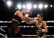 20 October 2018; Katie Taylor, right, and Cindy Serrano during their WBA & IBF Female Lightweight World title bout at TD Garden in Boston, Massachusetts, USA. Photo by Stephen McCarthy/Sportsfile
