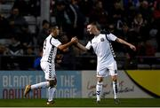 24 October 2018; Ali Reghba, left, of Bohemians celebrates after scoring his side's first goal with teammate Steve Nolan during the UEFA Youth League, 1st Round, 2nd Leg, match between Bohemians and FC Midtjylland at Dalymount Park in Dublin. Photo by Harry Murphy/Sportsfile