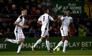 24 October 2018; Ali Reghba, centre, of Bohemians celebrates after scoring his side's first goal with teammates Promise Omochee, right, and Steve Nolan during the UEFA Youth League, 1st Round, 2nd Leg, match between Bohemians and FC Midtjylland at Dalymount Park in Dublin. Photo by Harry Murphy/Sportsfile