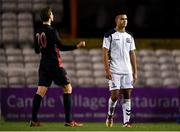 24 October 2018; Ali Reghba of Bohemians and Pajbjerg Tobias Anker of FC Midtjylland react at the full-time whistle following the UEFA Youth League, 1st Round, 2nd Leg, match between Bohemians and FC Midtjylland at Dalymount Park in Dublin. Photo by Harry Murphy/Sportsfile