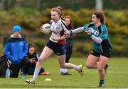 24 October 2018; Shauna Quirke of IT Sligo, left, in action against Shanise Fitzsimons of Maynooth University during the Intermediate final between IT Sligo and Maynooth University at the 2018 Gourmet Food Parlour HEC Freshers Blitz at Dublin City University in Dublin. Photo by Matt Browne/Sportsfile