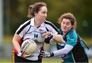24 October 2018; Kathleen McNally of IT Sligo,left, in action against Shanise Fitzsimons of Maynooth University during the Intermediate final between IT Sligo and Maynooth University at the 2018 Gourmet Food Parlour HEC Freshers Blitz at Dublin City University in Dublin. Photo by Matt Browne/Sportsfile
