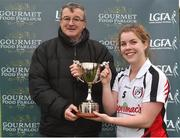 24 October 2018; Con Moynihan presents Rachael Connelly captain of IT Sligo with the cup after the Intermediate final between IT Sligo and Maynooth University at the 2018 Gourmet Food Parlour HEC Freshers Blitz at Dublin City University in Dublin. Photo by Matt Browne/Sportsfile