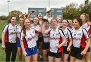 24 October 2018; IT Sligo team captains Ann Sheridan and Rachael Connelly lift the cup as their team-mates celebrate after the Intermediate final against Maynooth University at the 2018 Gourmet Food Parlour HEC Freshers Blitz at Dublin City University in Dublin. Photo by Matt Browne/Sportsfile