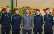 25 October 2018; Former Republic of Ireland international Andy Reid with students, from left, Killian Phillips, Ben O'Brien, Daniel Wilson and Ben McCormack during the FAI and Fingal County Council Transition Year Football Development Course at Corduff Sports Centre in Dublin. Photo by Harry Murphy/Sportsfile