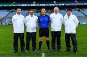 22 October 2018; Referee, and member of An Garda Síochána, Alan Kelly and his officials at the President's Cup match between The Irish Defence Forces and An Garda Síochána at Croke Park in Dublin.  Photo by Piaras Ó Mídheach/Sportsfile