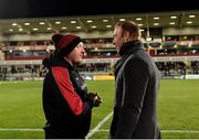 26 October 2018; Dragons Head Coach Bernard Jackman talking to Premier sports TV pundit and former Ulster, Ireland and Lions player Stephen Ferris before the Guinness PRO14 Round 7 match between Ulster and Dragons at the Kingspan Stadium in Belfast. Photo by Oliver McVeigh/Sportsfile