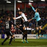 26 October 2018; Bohemians goalkeeper Shane Supple punches the ball away ahead of Patrick Hoban of Dundalk during the SSE Airtricity League Premier Division match between Bohemians and Dundalk at Dalymount Park in Dublin. Photo by Stephen McCarthy/Sportsfile
