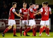 26 October 2018; James Doona, centre, of St Patrick's Athletic celebrates with team-mates after scoring his side's second goal during the SSE Airtricity League Premier Division match between St Patrick's Athletic and Derry City at Richmond Park in Dublin. Photo by Tom Beary/Sportsfile