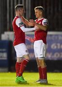26 October 2018; Jake Keegan, right, of St Patrick's Athletic celebrates with team-mate Ian Bermingham after scoring his side's fourth goal during the SSE Airtricity League Premier Division match between St Patrick's Athletic and Derry City at Richmond Park in Dublin. Photo by Tom Beary/Sportsfile