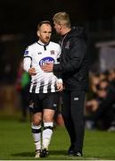 26 October 2018; Stephen O'Donnell of Dundalk with manager Stephen Kenny as he leaves the pitch during a second half substitution during the SSE Airtricity League Premier Division match between Bohemians and Dundalk at Dalymount Park in Dublin. Photo by Stephen McCarthy/Sportsfile