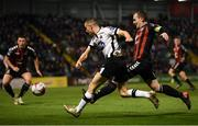 26 October 2018; Michael Duffy of Dundalk in action against Derek Pender of Bohemians during the SSE Airtricity League Premier Division match between Bohemians and Dundalk at Dalymount Park in Dublin. Photo by Stephen McCarthy/Sportsfile