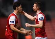 26 October 2018; Conan Byrne, right, of St Patrick's Athletic is substituted for team-mate Joe Manley during the SSE Airtricity League Premier Division match between St Patrick's Athletic and Derry City at Richmond Park in Dublin. Photo by Tom Beary/Sportsfile