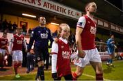 26 October 2018; Conan Byrne of St Patrick's Athletic with his daughter Kayla, age 8, prior to the SSE Airtricity League Premier Division match between St Patrick's Athletic and Derry City at Richmond Park in Dublin. Photo by Tom Beary/Sportsfile