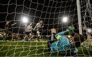 26 October 2018; Ronan Murray, centre, celebrates after his Dundalk team-mate Daniel Cleary, extreme right, scored his side's goal past Bohemians goalkeeper Shane Supple during the SSE Airtricity League Premier Division match between Bohemians and Dundalk at Dalymount Park in Dublin. Photo by Stephen McCarthy/Sportsfile