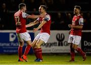 26 October 2018; James Doona of St Patrick's Athletic celebrates with team-mates Conan Byrne, left, and Conor Clifford after scoring his side's second goal during the SSE Airtricity League Premier Division match between St Patrick's Athletic and Derry City at Richmond Park in Dublin. Photo by Tom Beary/Sportsfile