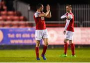 26 October 2018; Conan Byrne of St Patrick's Athletic acknowledges supporters on the Camac terrace after being substituted during the SSE Airtricity League Premier Division match between St Patrick's Athletic and Derry City at Richmond Park in Dublin. Photo by Tom Beary/Sportsfile