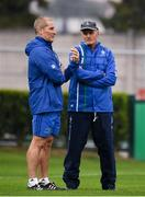 27 October 2018; Leinster Senior coach Stuart Lancaster, left, in conversation with  Benetton Rugby head coach Kieran Crowley ahead of the Guinness PRO14 Round 7 match between Benetton and Leinster at Stadio Comunale Di Monigo in Treviso, Italy. Photo by Sam Barnes/Sportsfile