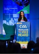 27 October 2018; Lauren Guilfoyle, National GAA Youth Committee, speaking during the #GAAyouth Forum 2018 at Croke Park in Dublin. Photo by Piaras Ó Mídheach/Sportsfile