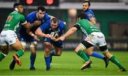 27 October 2018; Jack  McGrath of Leinster, supported by James Ryan is tackled by Monty Loane left, and Giovanni Pettinelli of Benetton during the Guinness PRO14 Round 7 match between Benetton and Leinster at Stadio Comunale Di Monigo in Treviso, Italy. Photo by Sam Barnes/Sportsfile