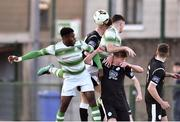 27 October 2018; Thomas Oluwya of Shamrock Rovers in action against Ronan Gallagher of Finn Harps during the SSE Airtricity U17 League Final match between Finn Harps and Shamrock Rovers at Maginn Park in Buncrana, Donegal. Photo by Oliver McVeigh/Sportsfile