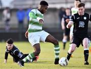 27 October 2018; Thomas Oluwya of Shamrock Rovers  in action against Daragh Ellison of Finn Harps during the SSE Airtricity U17 League Final match between Finn Harps and Shamrock Rovers at Maginn Park in Buncrana, Donegal. Photo by Oliver McVeigh/Sportsfile