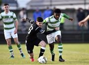 27 October 2018; Brendan Barr of Finn Harps in action against Thomas Oluwya of Shamrock Rovers during the SSE Airtricity U17 League Final match between Finn Harps and Shamrock Rovers at Maginn Park in Buncrana, Donegal. Photo by Oliver McVeigh/Sportsfile