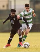 27 October 2018; Gabriel Junior Aduaka in action against Jordan Tallon of Shamrock Rovers during the SSE Airtricity U17 League Final match between Finn Harps and Shamrock Rovers at Maginn Park in Buncrana, Donegal. Photo by Oliver McVeigh/Sportsfile