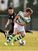 27 October 2018; Toby Owens of Shamrock Rovers  in action against Corey McBride of Finn Harps during the SSE Airtricity U17 League Final match between Finn Harps and Shamrock Rovers at Maginn Park in Buncrana, Donegal. Photo by Oliver McVeigh/Sportsfile