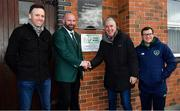 27 October 2018; In attendance during the FAI Club Mark Presentation at Ballingarry AFC, Limerick, are, from left, Tom Neville, T.D., David O'Hanlon, Chairman, Ballingarry AFC, John Delaney, CEO, FAI and Vincent Foley, Club Support Officer, FAI. Photo by Brendan Moran/Sportsfile