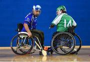 27 October 2018; Sultan Ka Ka of Munster in action against Louie Cleary of Leinster during the M.Donnelly GAA Wheelchair Hurling All-Ireland Finals match between Munster and Leinster at the Sport Ireland National Indoor Arena in Abbotstown, Dublin. Photo by Barry Cregg/Sportsfile