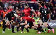 27 October 2018; Ruaridh Jackson of Glasgow Warriors is tackled by Mike Haley of Munster during the Guinness PRO14 Round 7 match between Munster and Glasgow Warriors at Thomond Park, Limerick. Photo by Brendan Moran/Sportsfile