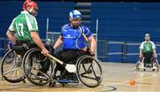 27 October 2018; Lorcan Madden of Leinster in action against James McCarthy of Munster during the M.Donnelly GAA Wheelchair Hurling All-Ireland Finals match between Munster and Leinster at the Sport Ireland National Indoor Arena in Abbotstown, Dublin. Photo by Barry Cregg/Sportsfile