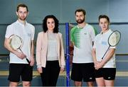 31 October 2018; AIG Insurance officially launched this year's AIG FZ Forza Irish Badminton International today, which will take place in the National Sports Campus from November 14th to 17th. Irish International badminton stars Sam and Chloe Magee with Rebecca Claffey from AIG and coach Daniel Magee were on hand today to launch this year's championship at Marino Institute of Education, Marino, Dublin. TG4 will televise the ladies and men's finals. Photo by Matt Browne/Sportsfile