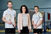 31 October 2018; AIG Insurance officially launched this year's AIG FZ Forza Irish Badminton International today, which will take place in the National Sports Campus from November 14th to 17th. Irish International badminton stars Sam and Chloe Magee with Rebecca Claffey from AIG were on hand today to launch this year's championship at Marino Institute of Education, Marino, Dublin. TG4 will televise the ladies and men's finals. Photo by Matt Browne/Sportsfile