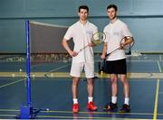 31 October 2018; AIG Insurance officially launched this year's AIG FZ Forza Irish Badminton International today, which will take place in the National Sports Campus from November 14th to 17th. Irish International badminton stars Joshua Magee, left, and Paul Reynolds were on hand today to launch this year's championship at Marino Institute of Education, Marino, Dublin. TG4 will televise the ladies and men's finals. Photo by Matt Browne/Sportsfile