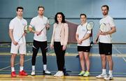 31 October 2018; AIG Insurance officially launched this year's AIG FZ Forza Irish Badminton International today, which will take place in the National Sports Campus from November 14th to 17th. Irish International badminton stars from left Joshua Magee, Paul Reynolds, Chloe Magee and Sam Magee with Rebecca Claffey    from AIG were on hand today to launch this year's championship at Marino Institute of Education, Marino, Dublin. TG4 will televise the ladies and men's finals. Photo by Matt Browne/Sportsfile