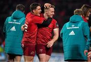 27 October 2018; Rory Scannell of Munster is congratulated by team-mate Ian Keatley after kicking a penalty to win the game during the Guinness PRO14 Round 7 match between Munster and Glasgow Warriors at Thomond Park, Limerick. Photo by Brendan Moran/Sportsfile