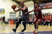 27 October 2018; Kieran Donaghy of Garvey's Warriors Tralee in action against Stephen James of Templeogue during the Hula Hoops Pat Duffy Men's National Cup match between Templeogue and Garvey's Warriors Tralee at Oblate Hall in Inchicore, Dublin. Photo by Eóin Noonan/Sportsfile
