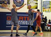 27 October 2018; Kieran Donaghy, right, of Garvey's Warriors Tralee celebrates with team mate Paul Dick after the Hula Hoops Pat Duffy Men's National Cup match between Templeogue and Garvey's Warriors Tralee at Oblate Hall in Inchicore, Dublin. Photo by Eóin Noonan/Sportsfile