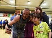27 October 2018; Kieran Donaghy of Garvey's Warriors Tralee poses for a selfie with supporters after the Hula Hoops Pat Duffy Men's National Cup match between Templeogue and Garvey's Warriors Tralee at Oblate Hall in Inchicore, Dublin. Photo by Eóin Noonan/Sportsfile