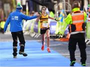 28 October 2018; Lizzie Lee of Leevale AC, Co Cork, crosses the line to become the Athletics Ireland National Women's Champion at the 2018 SSE Airtricity Dublin Marathon. 20,000 runners took to the Fitzwilliam Square start line to participate in the 39th running of the SSE Airtricity Dublin Marathon, making it the fifth largest marathon in Europe. Photo by Ramsey Cardy/Sportsfile