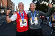 28 October 2018; Brendan Anderson, left, and Brian Smith, from Co. Westmeath, after the 2018 SSE Airtricity Dublin Marathon. 20,000 runners took to the Fitzwilliam Square start line to participate in the 39th running of the SSE Airtricity Dublin Marathon, making it the fifth largest marathon in Europe. Photo by Ramsey Cardy/Sportsfile