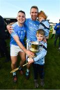28 October 2018; Eddie Brennan of Graigue Ballycallan celebrates with his children Harry and Maeve and captain Darragh Egan following the Kilkenny County Intermediate Club Hurling Championship Final between Graigue Ballycallan and Tullaroan at Nowlan Park in Kilkenny. Photo by Stephen McCarthy/Sportsfile