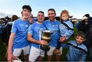 28 October 2018; Eddie Brennan of Graigue Ballycallan celebrates with his children Harry and Maeve and team-mates Sean Ryan, left, and captain Darragh Egan following the Kilkenny County Intermediate Club Hurling Championship Final between Graigue Ballycallan and Tullaroan at Nowlan Park in Kilkenny. Photo by Stephen McCarthy/Sportsfile