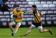 28 October 2018; Micheál Lundy of Corofin in action against Gary Sweeney of Mountbellew-Moylough during the Galway County Senior Club Football Championship Final match between Mountbellew-Moylough and Corofin at Pearse Stadium, Galway. Photo by Harry Murphy/Sportsfile