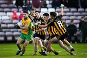 28 October 2018; Micheál Lundy of Corofin in action against, from left, Michael Daly, Barry McHugh, Gary Sweeney and John Daly of Mountbellew-Moylough during the Galway County Senior Club Football Championship Final match between Mountbellew-Moylough and Corofin at Pearse Stadium, Galway. Photo by Harry Murphy/Sportsfile