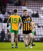 28 October 2018; A dejected Paul Donnellan of Mountbellew-Moylough shakes the hand of Micheál Lundy of Corofin during the Galway County Senior Club Football Championship Final match between Mountbellew-Moylough and Corofin at Pearse Stadium, Galway. Photo by Harry Murphy/Sportsfile