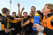 28 October 2018; Dr. Crokes players, from left, Gavin O'Shea, Jordan Kiely, Tony Brosnan, Micheál Burns, Paul Clarke and selector Vince Casey celebrate after the Kerry County Senior Club Football Championship Final match between Dr Crokes and Dingle at Austin Stack Park in Tralee, Kerry. Photo by Brendan Moran/Sportsfile