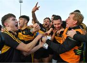 28 October 2018; Dr. Crokes players, from left, Jordan Kiely, Tony Brosnan, Micheál Burns, Paul Clarke and selector Vince Casey celebrate after the Kerry County Senior Club Football Championship Final match between Dr Crokes and Dingle at Austin Stack Park in Tralee, Kerry. Photo by Brendan Moran/Sportsfile